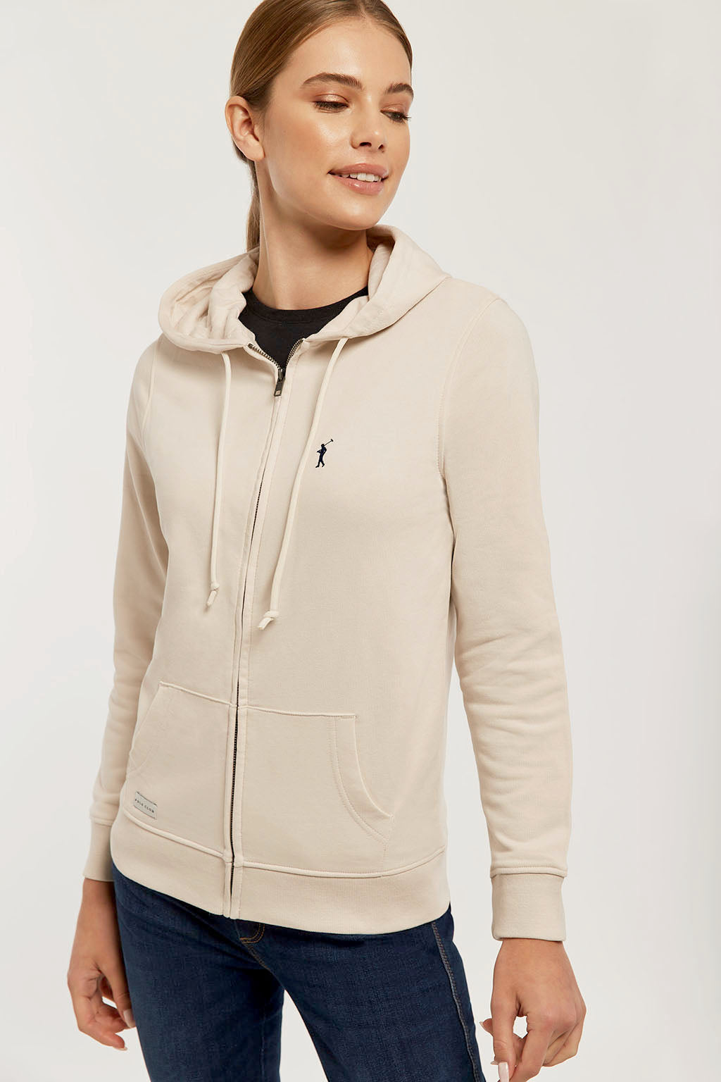 Beige zipped organic sweatshirt with embroidered logo
