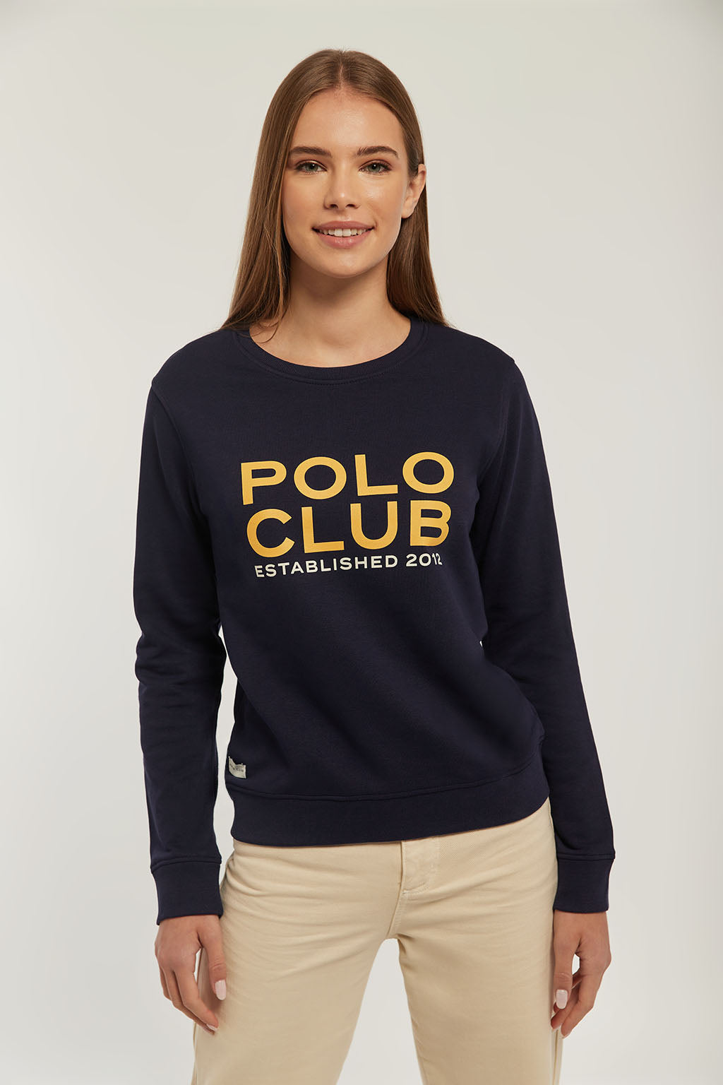 Navy blue sweatshirt with bi-coloured graphic print