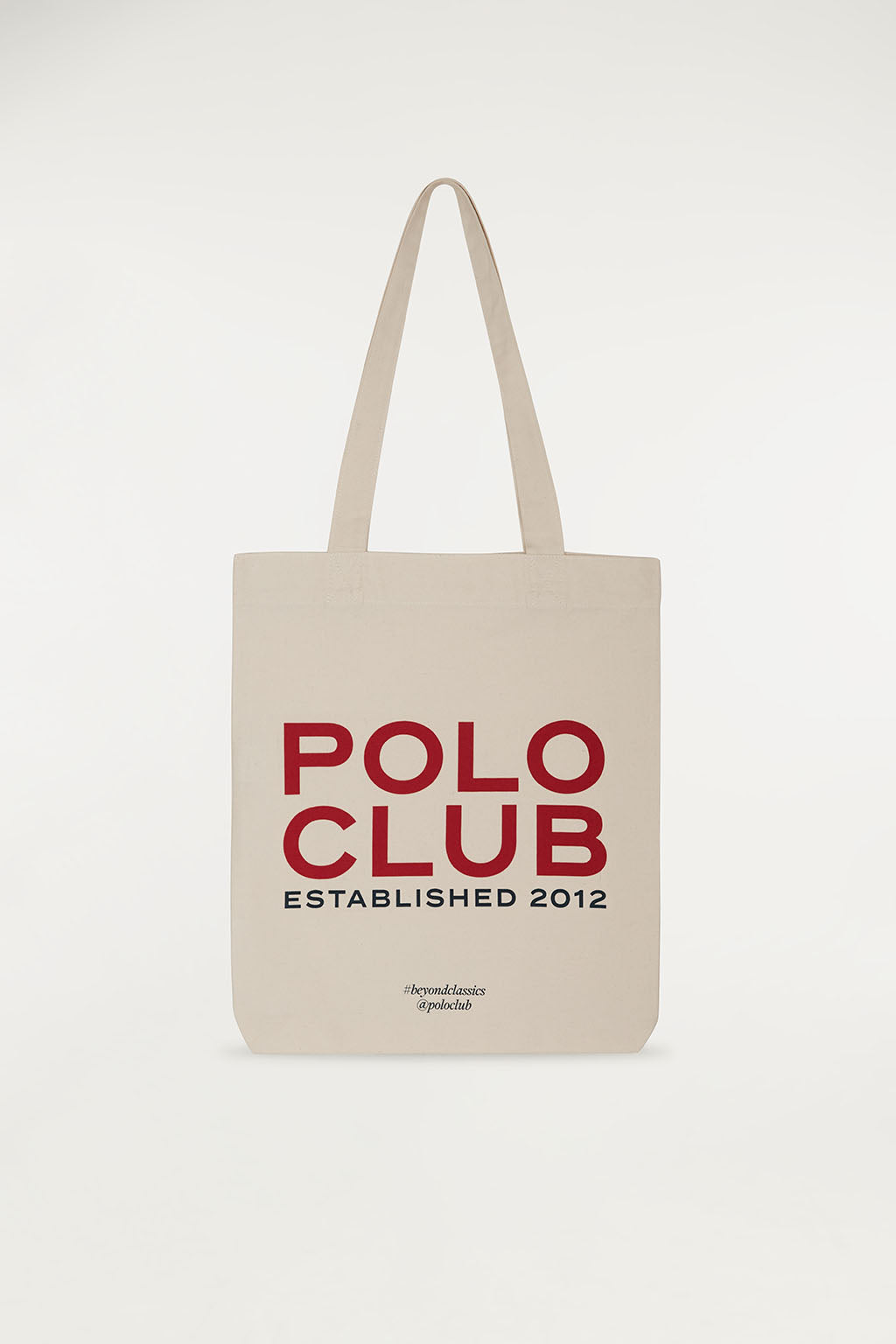 Shopping bag en crudo con impresión frontal en rojo