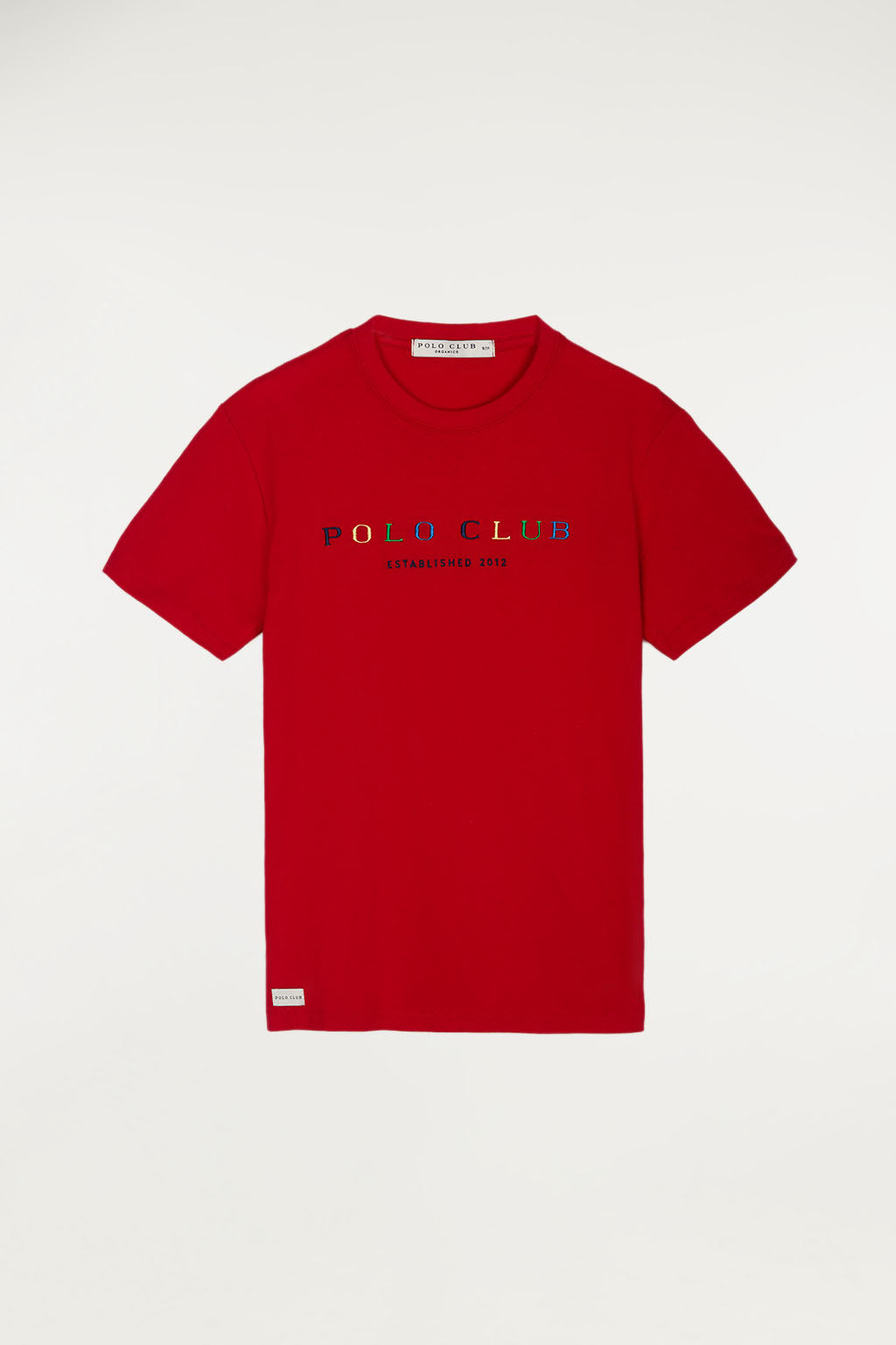 Camiseta orgánica kids roja con bordado multicolor