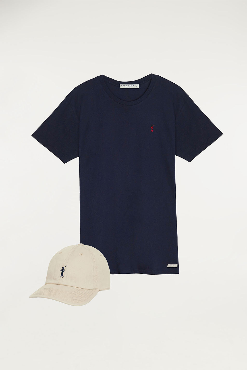 Organic tee and cap with embroidered logo pack