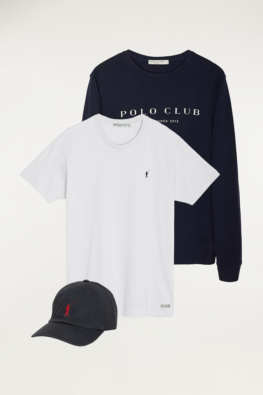 Sweatshirt, organic tee and cap with contrast detail pack