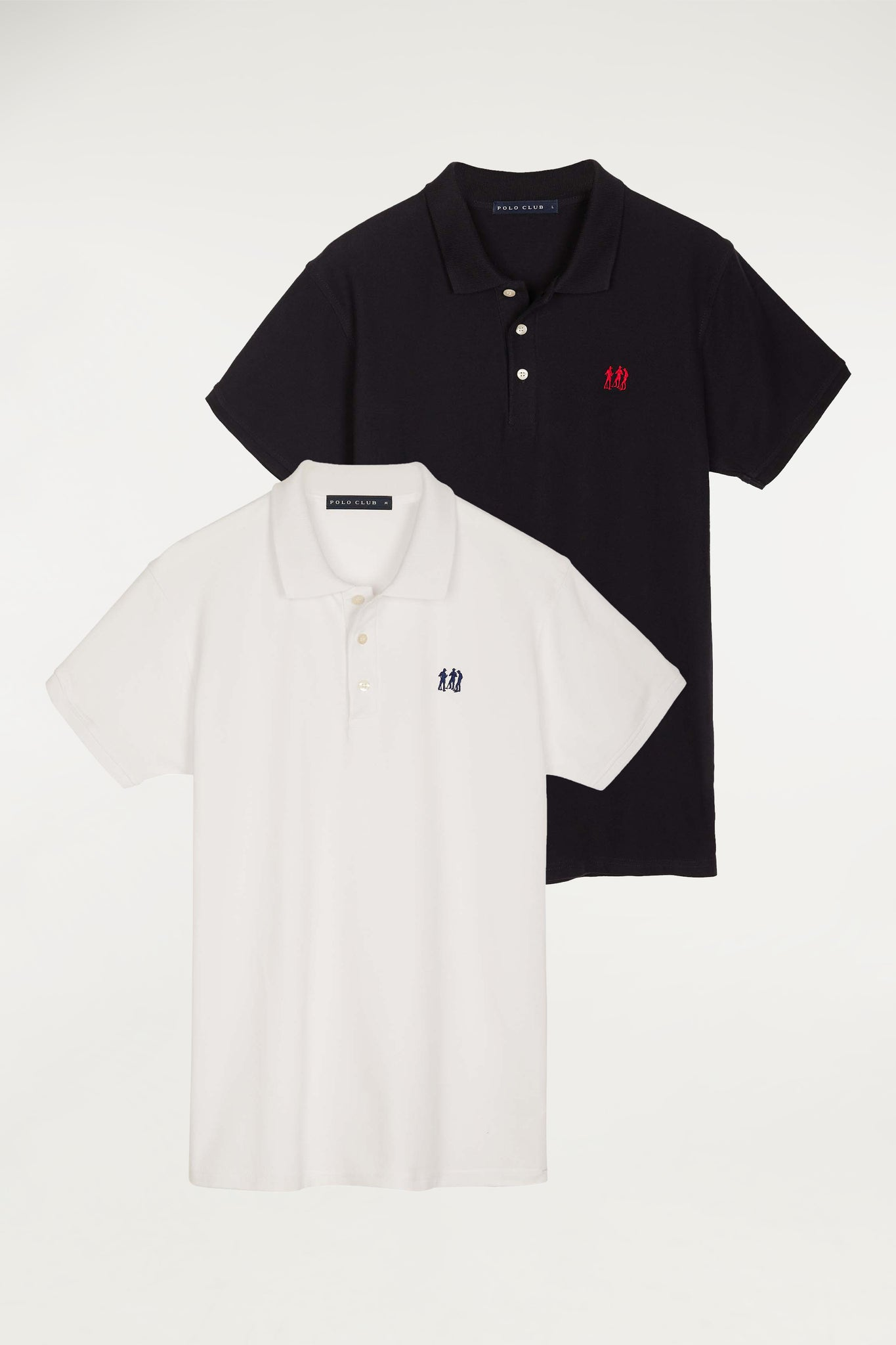 Short-sleeve polo shirt with contrast embroidered logo two pack