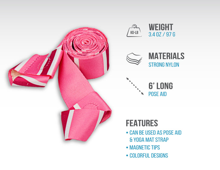 Skyin 2-in-1 Magnetic Yoga Strap (Pink)