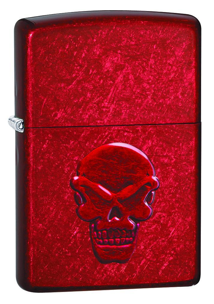 Zippo Lighter: Stamped Doom Skull - Candy Apple Red 21186
