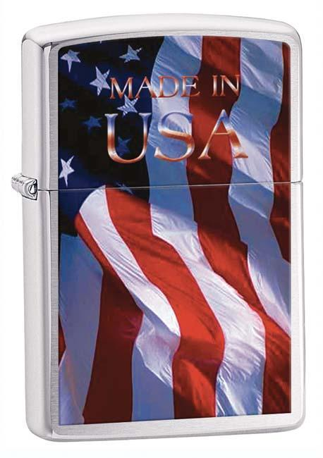 Zippo Lighter: Made in USA Flag - Brushed Chrome 24797 (1975500865651)