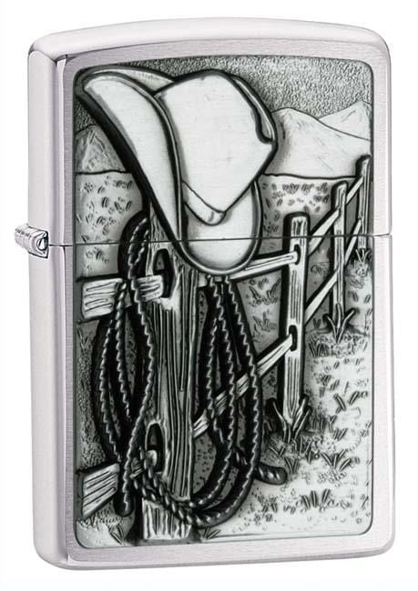 Zippo Lighter: Resting Cowboy Emblem - Brushed Chrome 24879