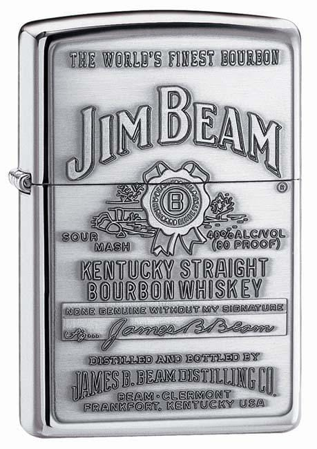 Zippo Lighter: Jim Beam Pewter Emblem - HP Chrome 250JB.928