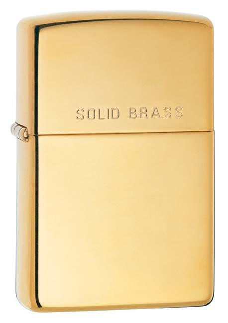 Zippo Lighter: Solid Brass - HP Brass 254