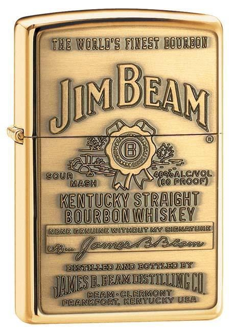 Zippo Lighter: Jim Beam Emblem - HP Brass 254BJB.929