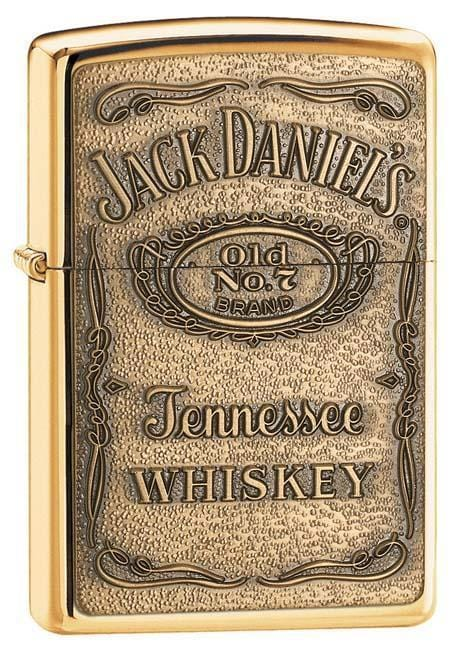 Zippo Lighter: Jack Daniels Label Emblem - HP Brass 254BJD.428