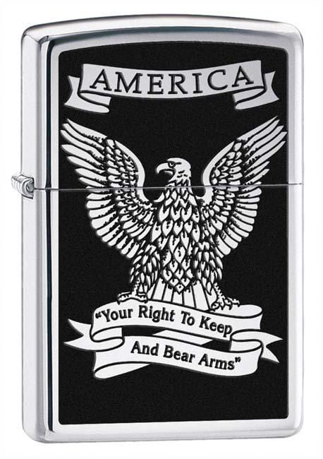 Zippo Lighter: America Eagle, Right to Bear Arms- HP Chrome 28290 - Gear Exec