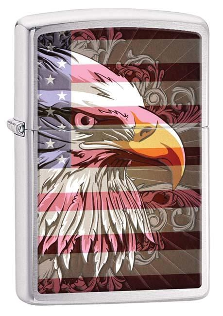Zippo Lighter: Eagle and Flag - Brushed Chrome 28652 - Gear Exec