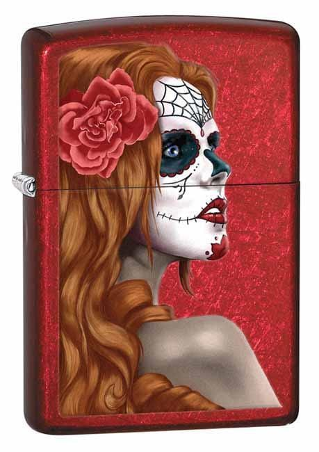Zippo Lighter: Day of the Dead - Candy Apple Red 28830 - Gear Exec