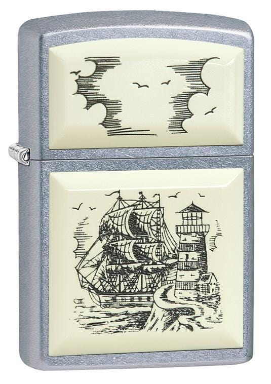 Zippo Lighter: Scrimshaw Ship - Street Chrome 29397