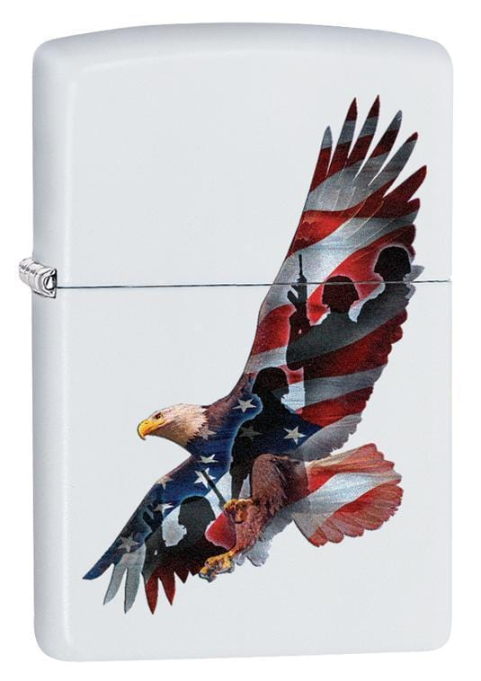 Zippo Lighter: Eagle with Soldiers and Flag - White Matte 29418 - Gear Exec