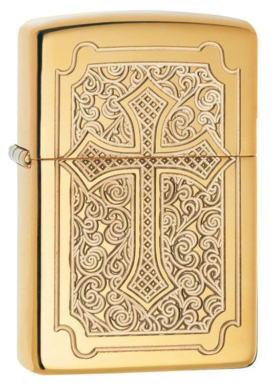 Zippo Lighter: Cross Design, Armor - High Polish Brass 29436 - Gear Exec (1975539990643)