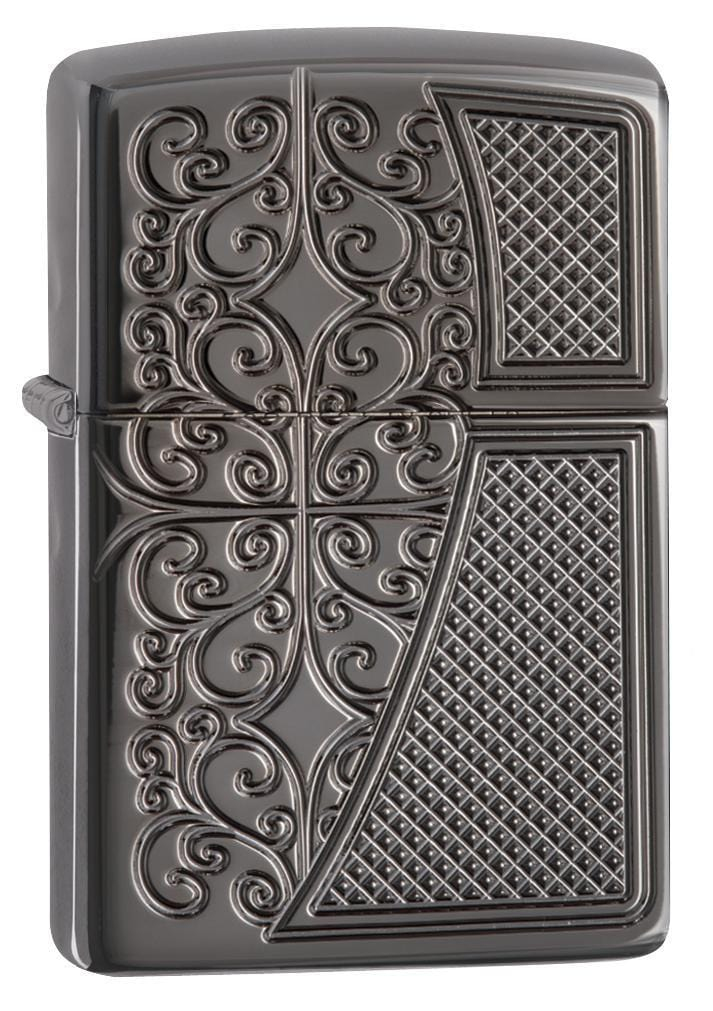 Zippo Lighter: Armor Deep Carved Design - Black Ice 29498 - Gear Exec