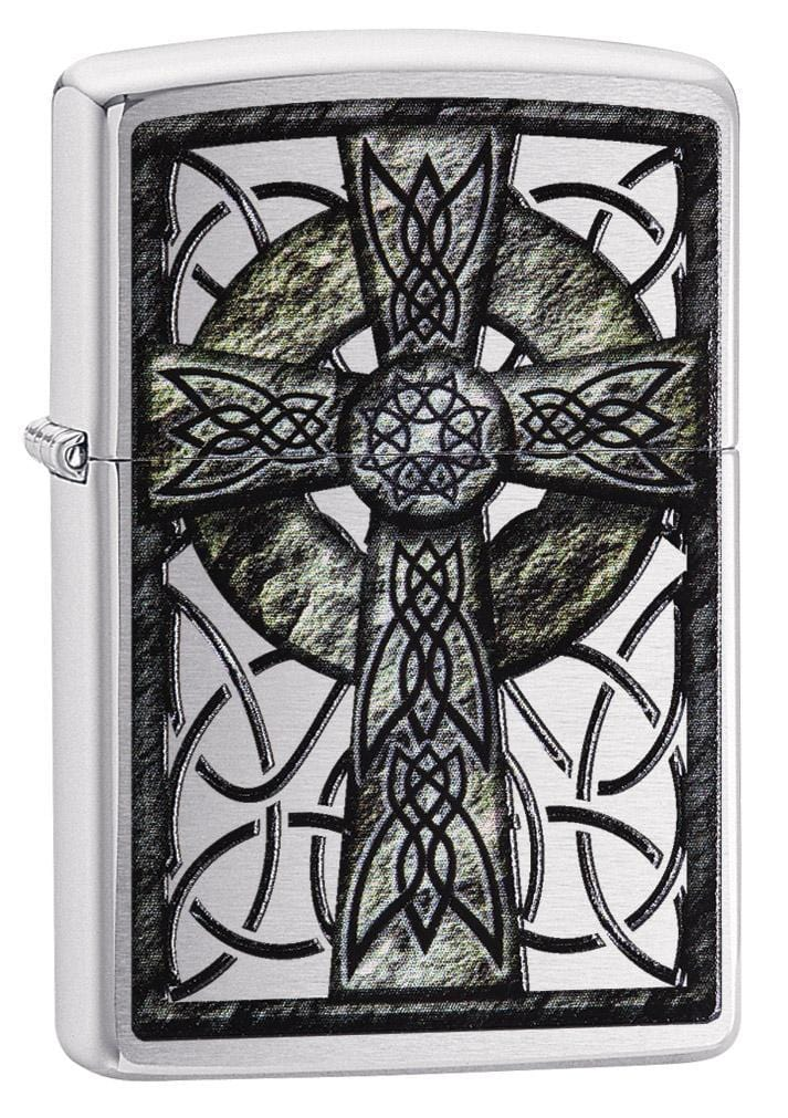 Zippo Lighter: Celtic cross - Brushed Chrome 29622 - Gear Exec