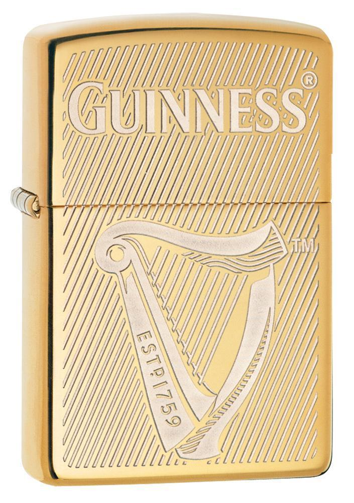 Zippo Lighter: Guiness Beer Engraved Harp - High Polish Brass 29651 - Gear Exec