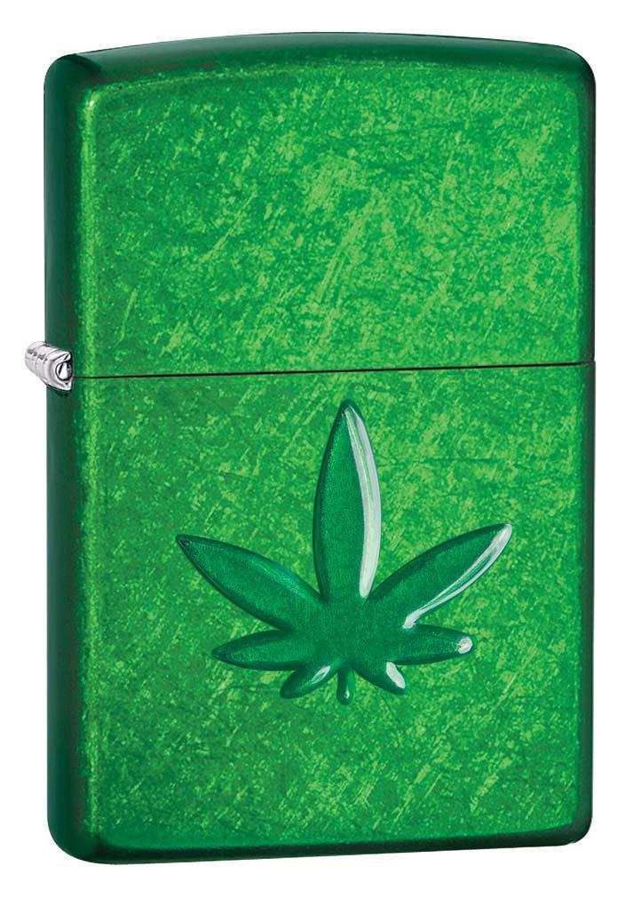 Zippo Lighter: Stamped Weed Leaf - Meadow 29662