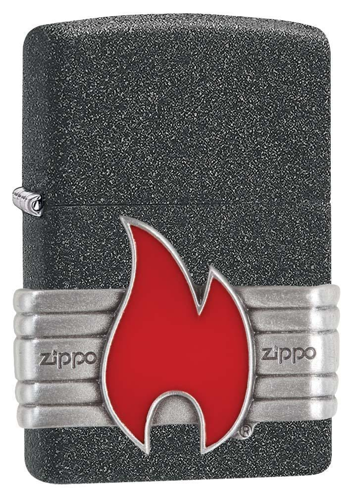 Zippo Lighter: Vintage Red Flame Wrap - Iron Stone 29663