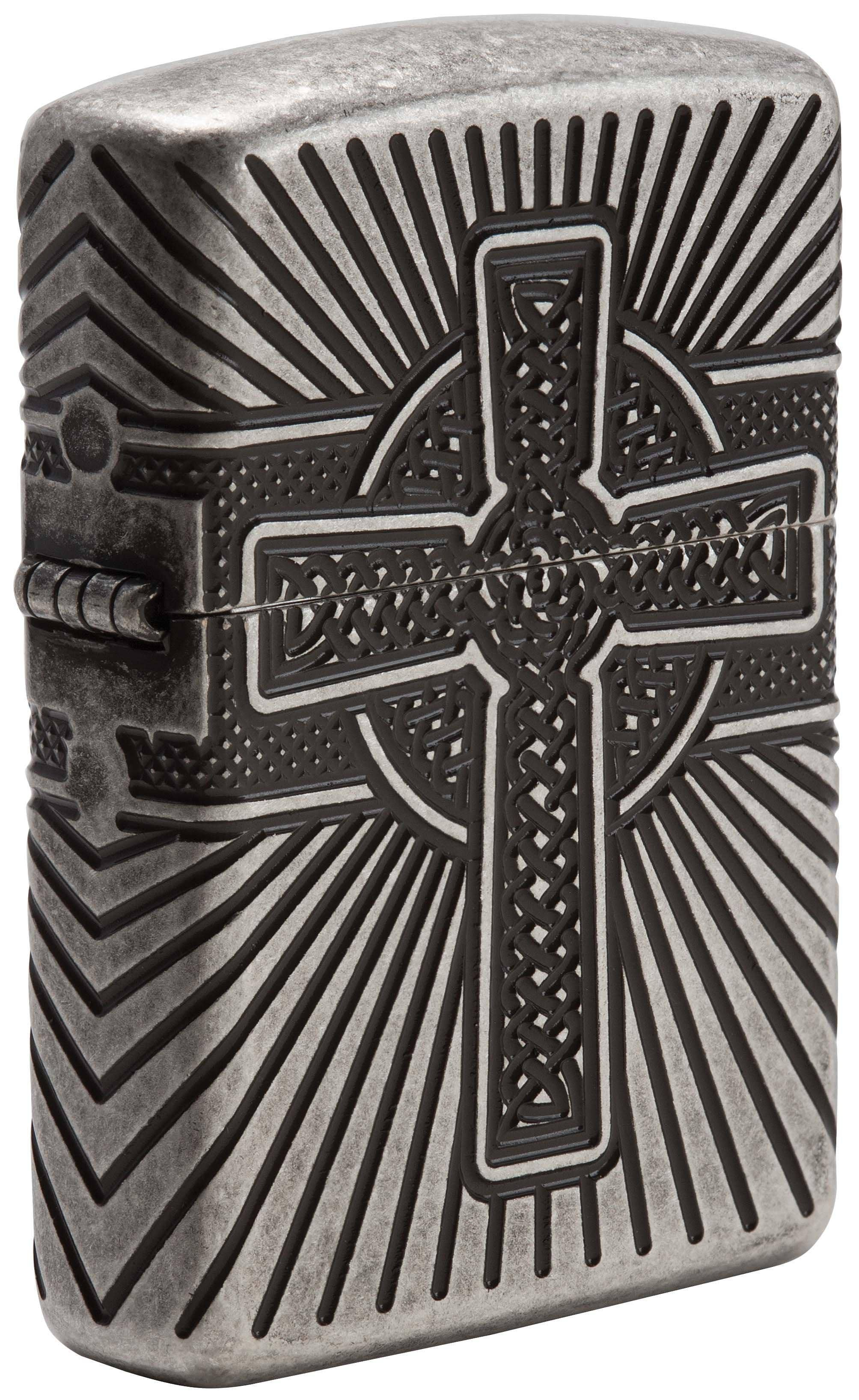 Zippo Lighter: Armor Multicut Celtic Cross and Knot - Antique Silver 29667 - Gear Exec