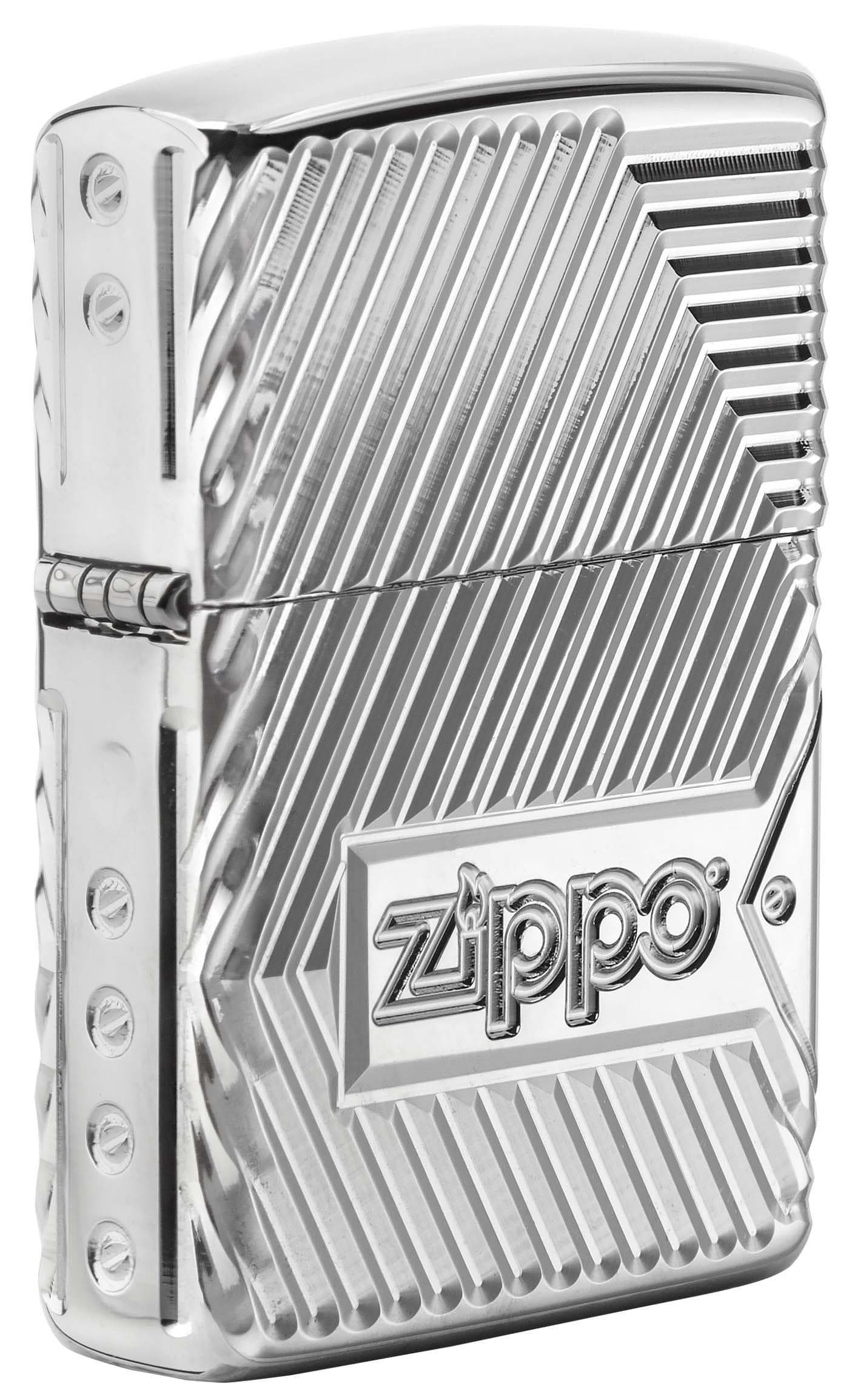 Zippo Lighter: Armor Multicut Bolts and Flame - High Polish Chrome 29672 - Gear Exec