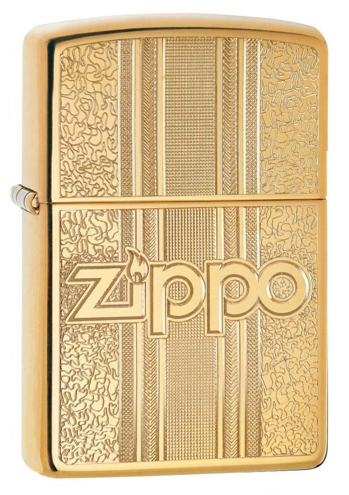 Zippo Lighter: Zippo Engraved Pattern - High Polish Brass 29677