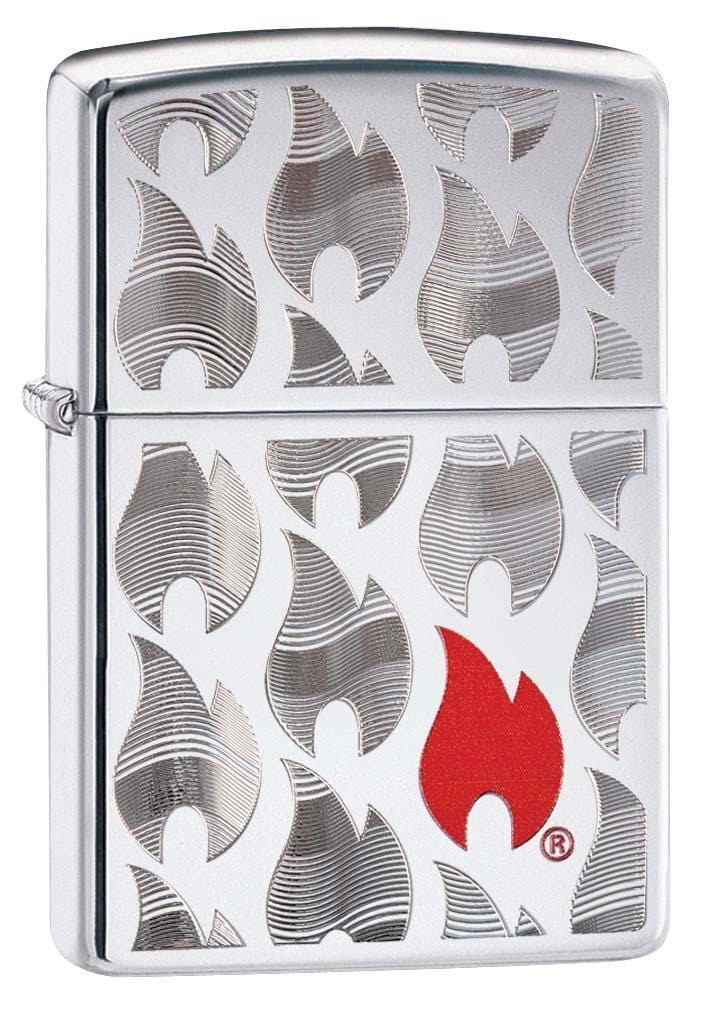 Zippo Lighter: Zippo Flames - High Polish Chrome 29678