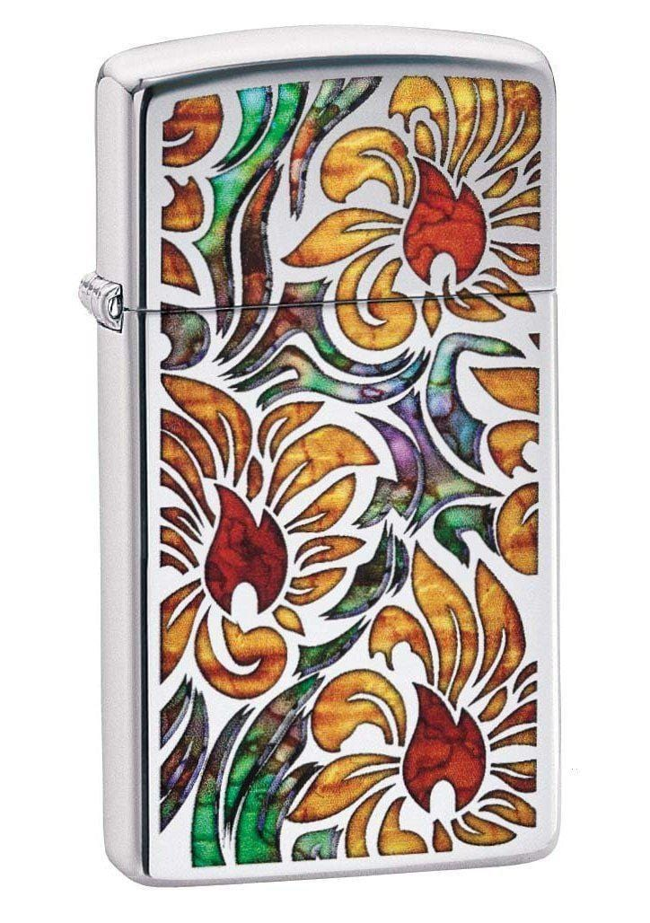 Zippo Lighter: Slim Fusion Floral Pattern - High Polish Chrome 29702