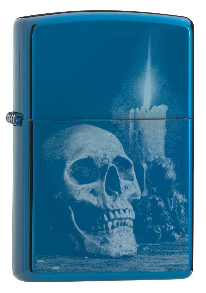 Zippo Lighter: Skull and Candle - High Polish Blue 29704