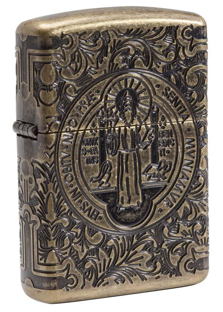 Zippo Lighter: Armor Multicut St. Benedict Medal - Antique Brass 29719 - Gear Exec