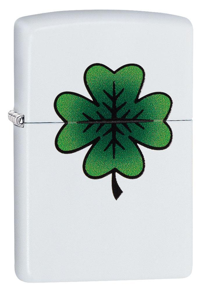 Zippo Lighter: Four Leaf Clover - White Matte 29723 - Gear Exec