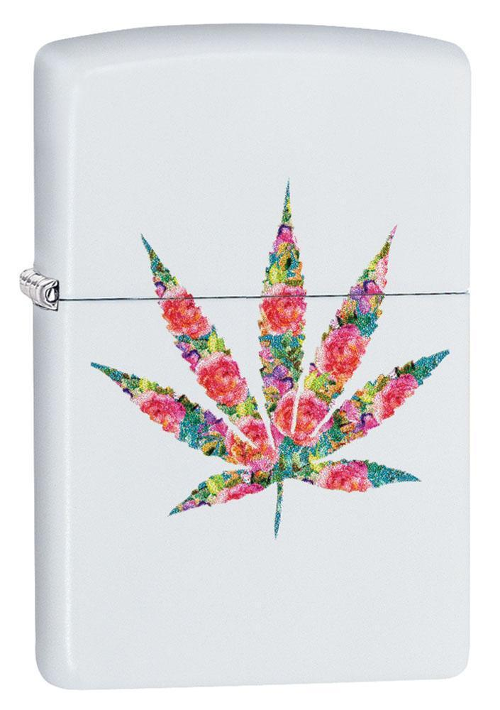 Zippo Lighter: Floral Weed Leaf - White Matte 29730 - Gear Exec