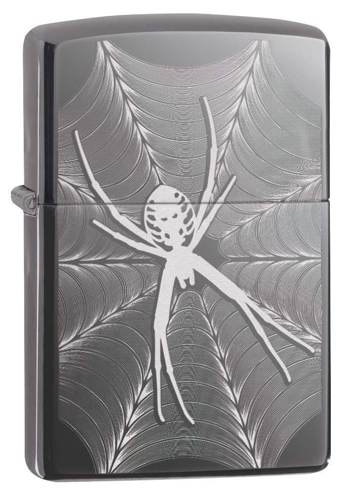 Zippo Lighter: Engraved Spider and Web - Black Ice 29733 - Gear Exec