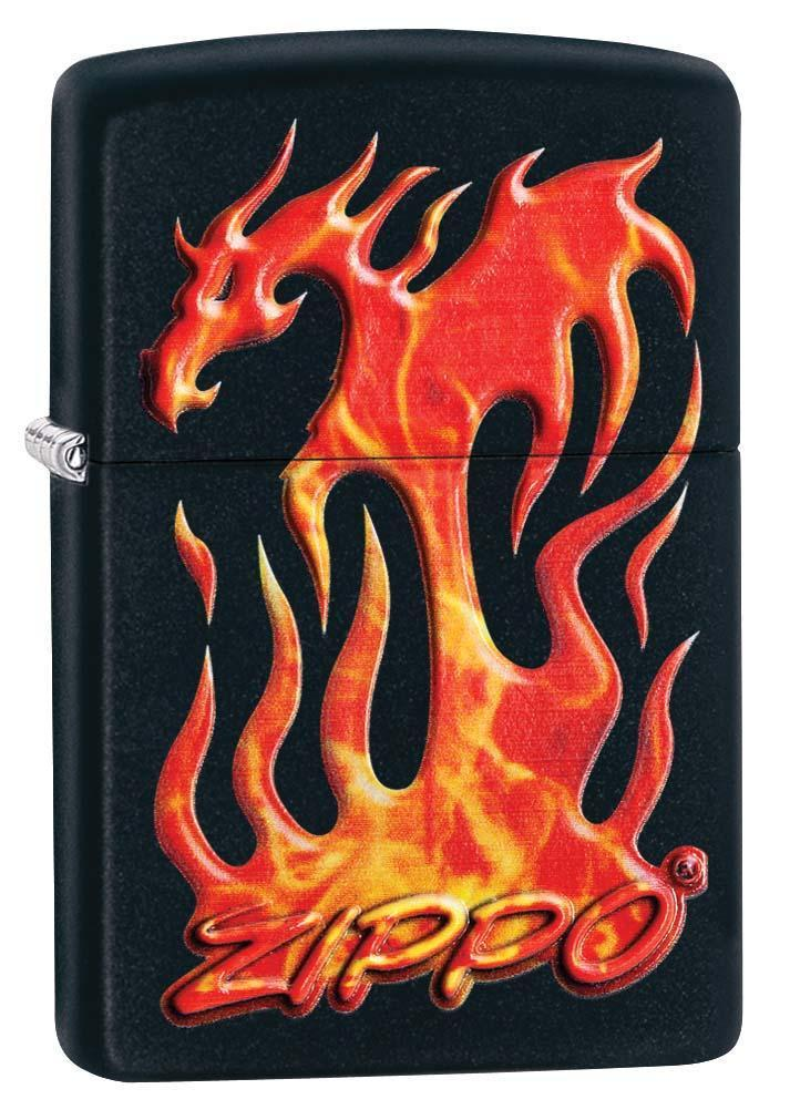 Zippo Lighter: Flaming Dragon - Black Matte 29735 - Gear Exec
