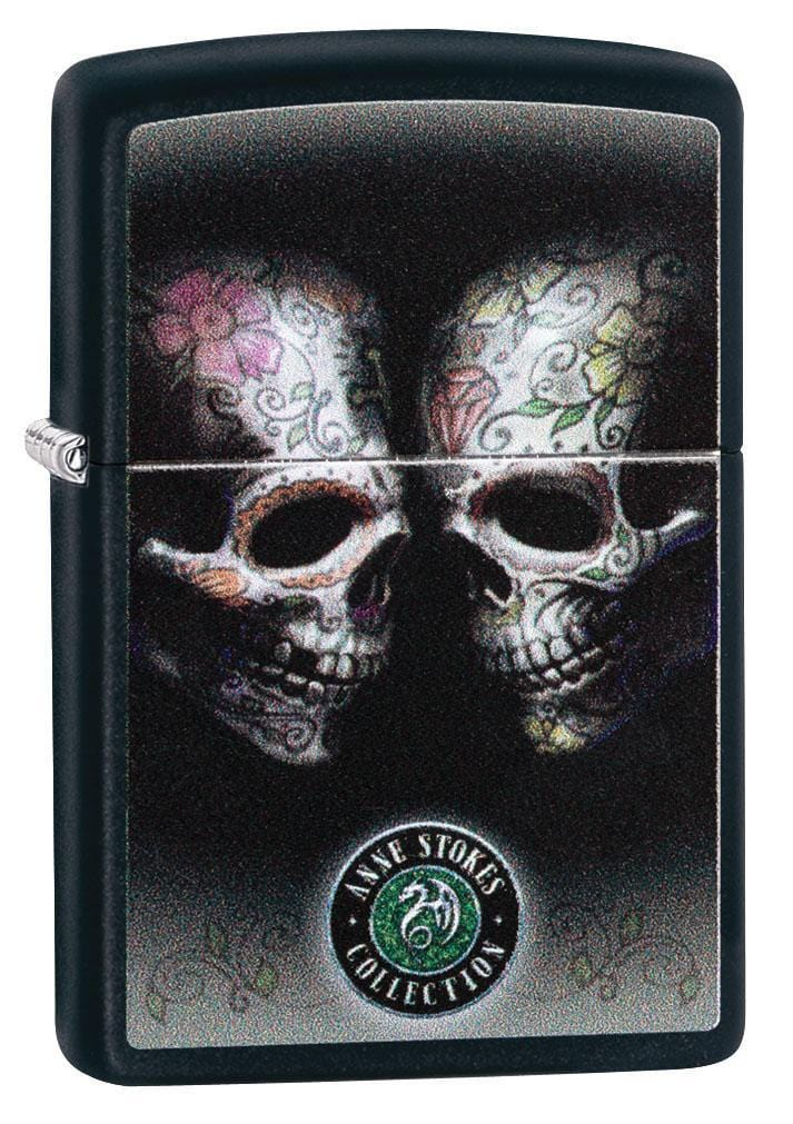 Zippo Lighter: Anne Stokes Floral Skulls - Black Matte 29754 - Gear Exec