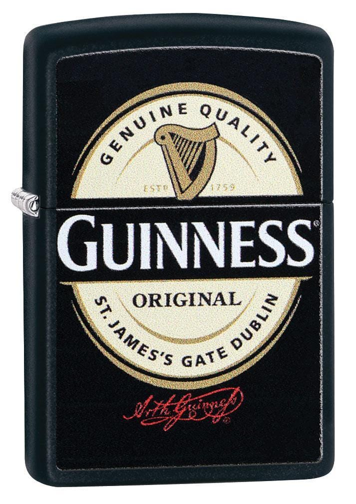 Zippo Lighter: Guinness Beer Logo - Black Matte 29755 - Gear Exec