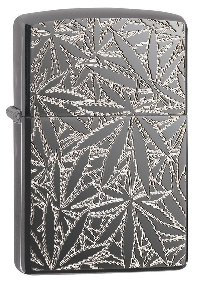 Zippo Lighter: Armor Engraved Weed Leaves - High Polish Black Ice 29834 - Gear Exec