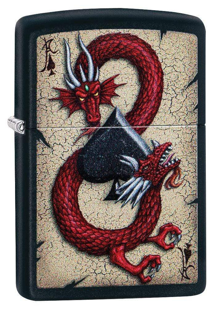 Zippo Lighter: Dragon and Ace of Spades - Black Matte 29840 - Gear Exec