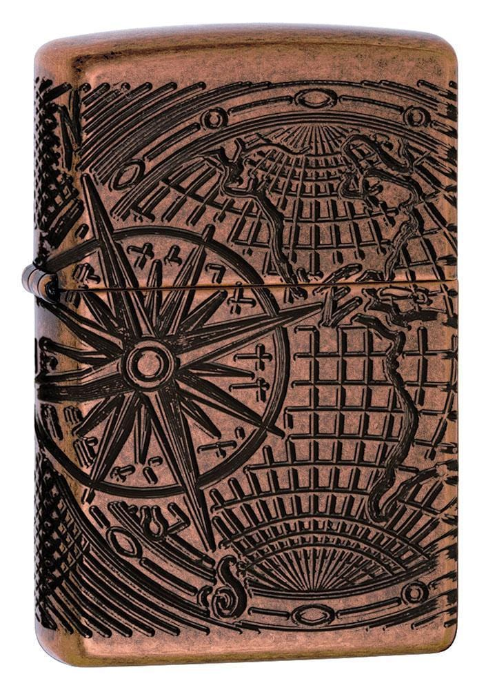 Zippo Lighter: Armor MultiCut World Map - Antique Copper 29853 - Gear Exec