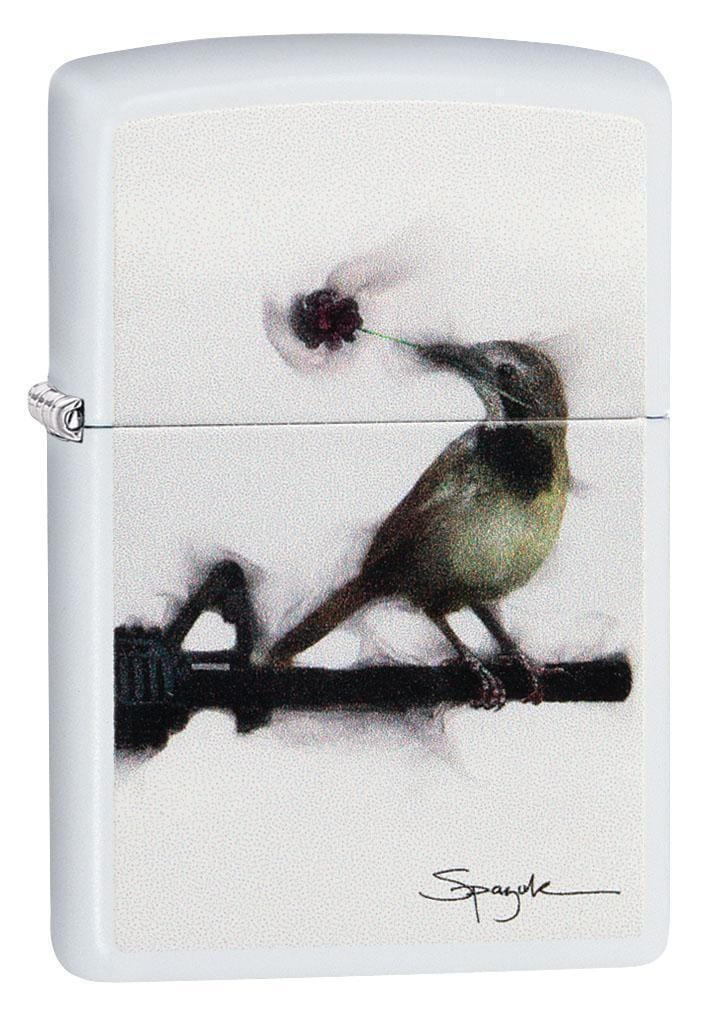 Zippo Lighter: Bird on Gun Barrel by Spazuk - White Matte 29895 - Gear Exec