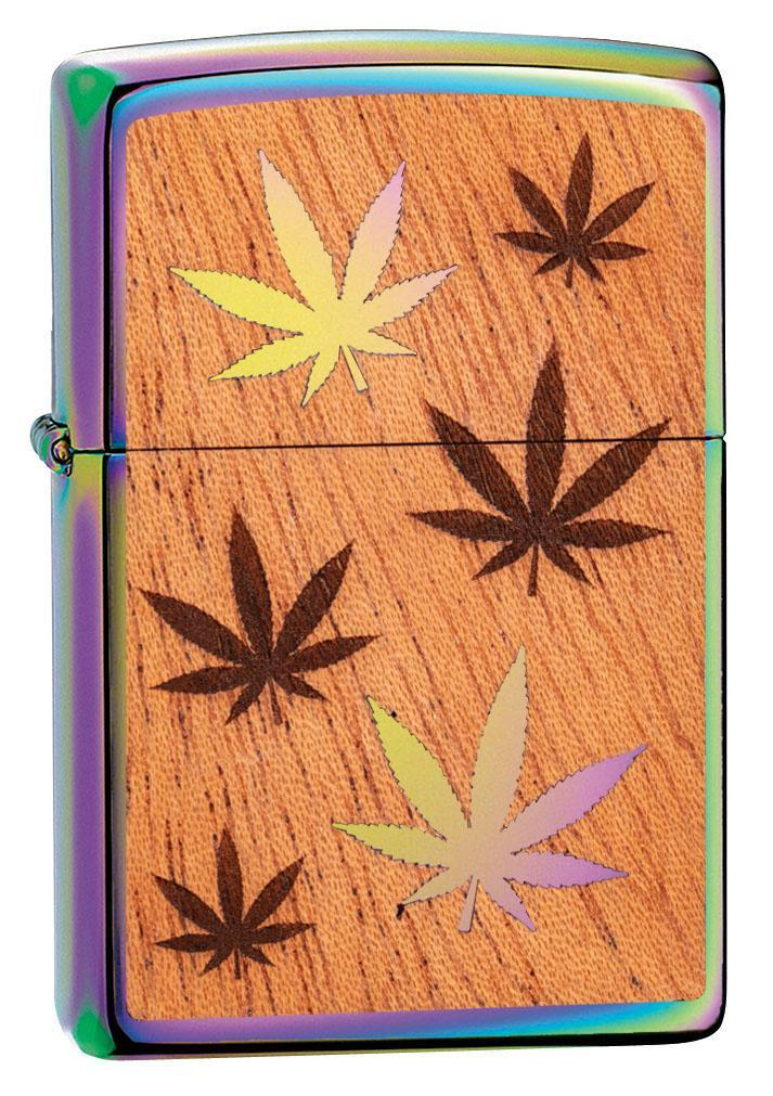 Zippo Lighter: Woodchuck Weed Leaves - Spectrum 29903