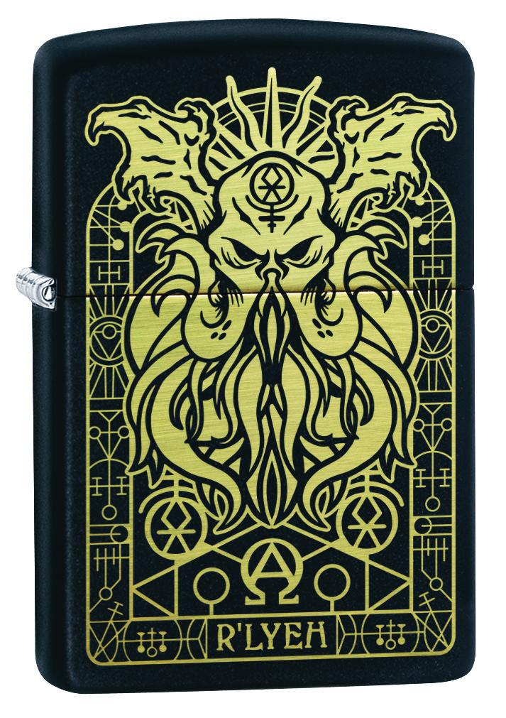 Zippo Lighter: Engraved Monster - Black Matte 29965