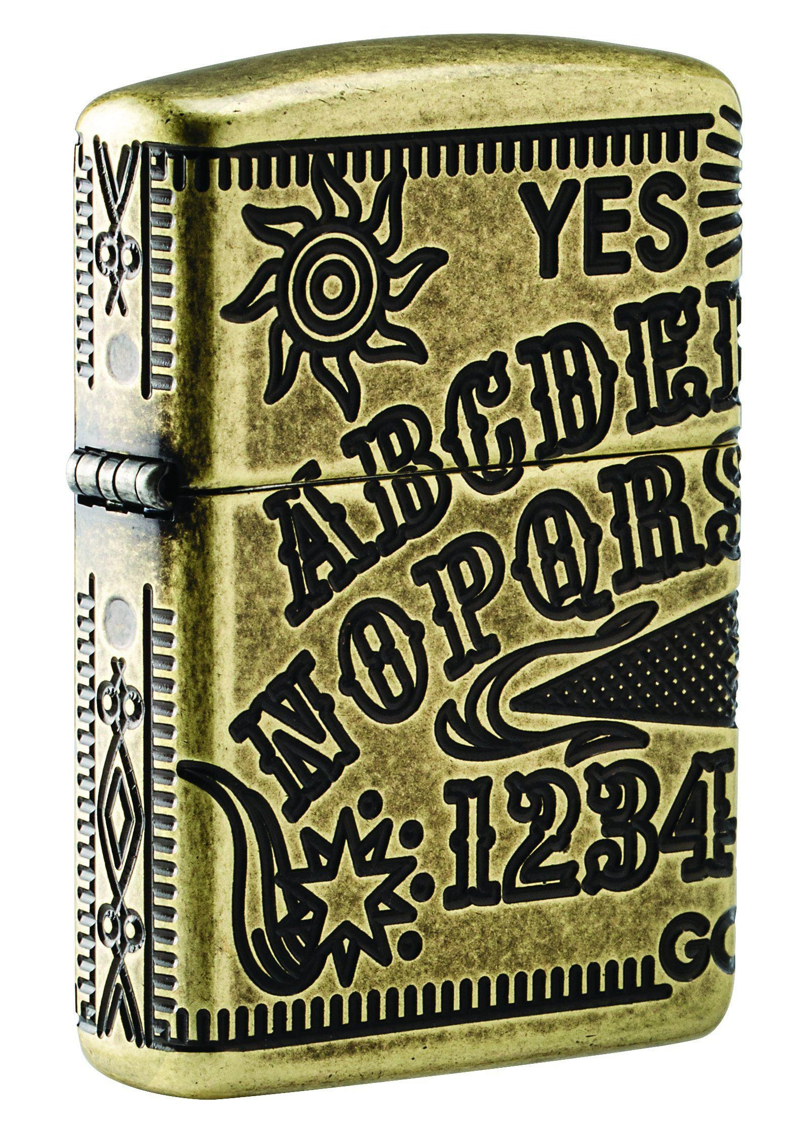 Zippo Lighter: Armor MultiCut Ouija Board - Antique Brass 49001