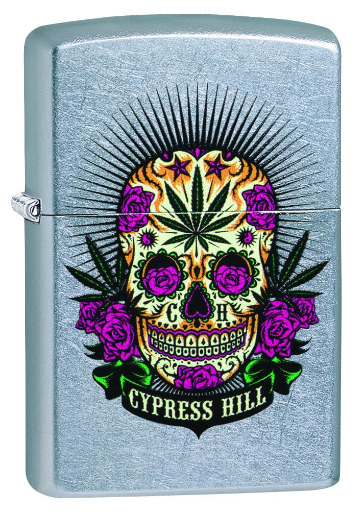 Zippo Lighter: Cypress Hill Skull and Weed Leaf - Street Chrome 49011