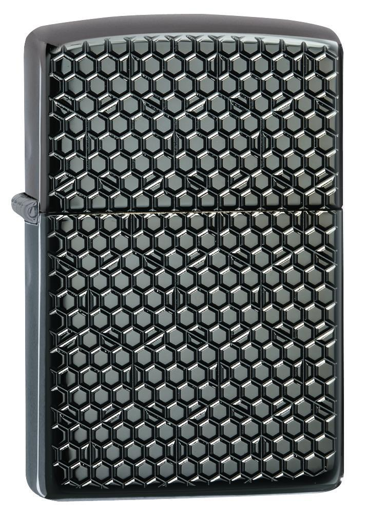 Zippo Lighter: Armor Hexagon Design - Black Ice 49021