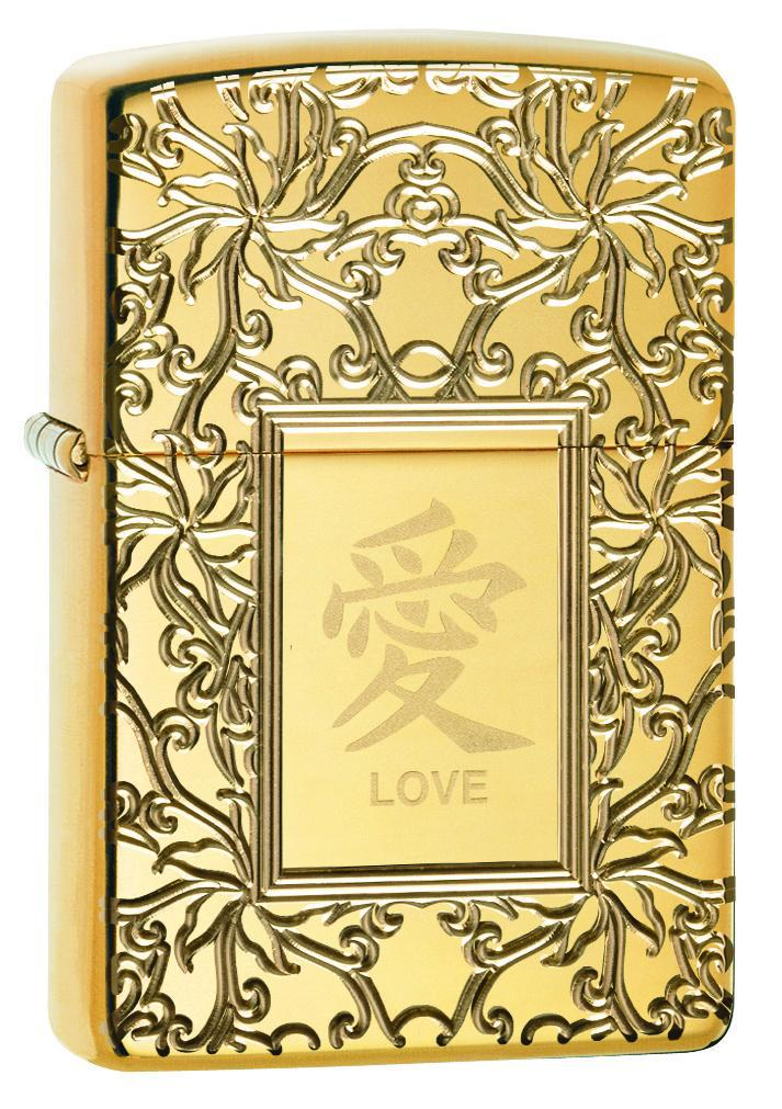 Zippo Lighter: Armor Chinese Love Symbol - High Polish Brass 49022
