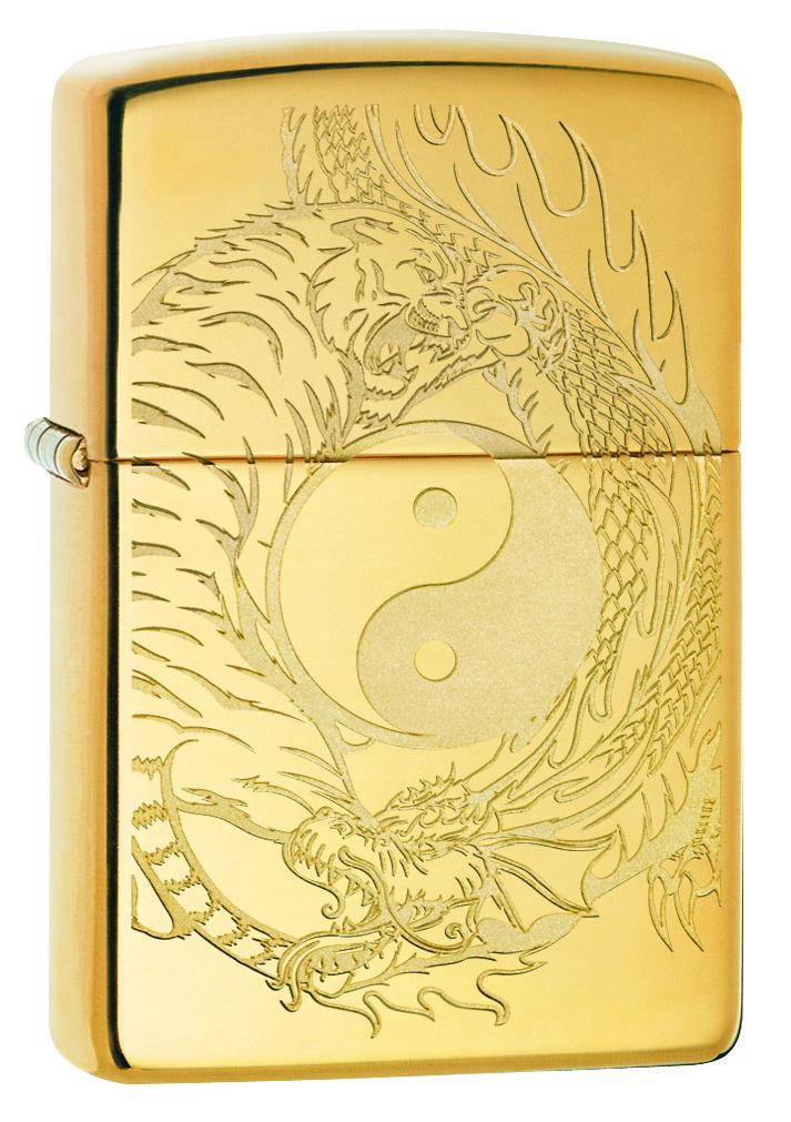 Zippo Lighter: Yin and Yang, Tiger and Dragon - High Polish Brass 49024